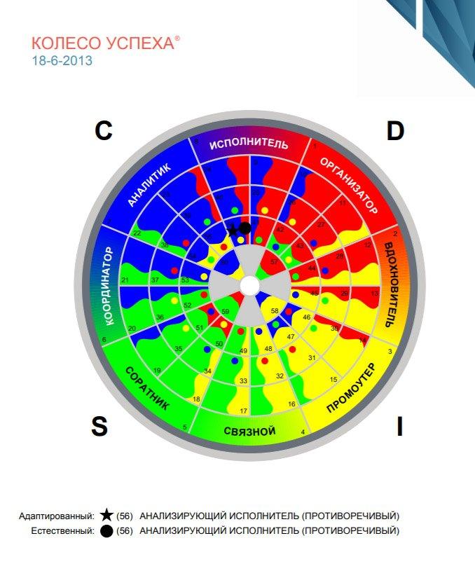 Оценка DISC колесо успеха версия для командообразования